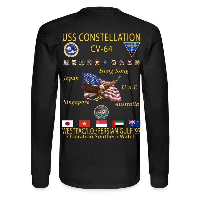 USS CONSTELLATION CV-64 WESTPAC/I.O./PERSIAN GULF CRUISE 1997 CRUISE SHIRT - LONG SLEEVE