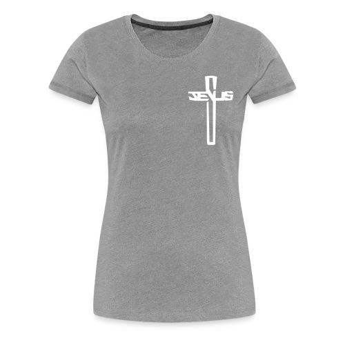 #sharetospreadHISword White Cross Tee (Women's) - Women's Premium T-Shirt