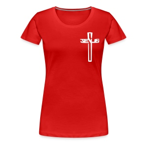 #sharetospreadHISword White Cross/Red Tee (Women's) - Women's Premium T-Shirt