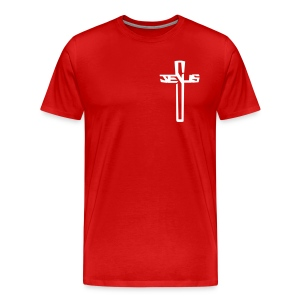#sharetospreadHISword White Cross/Red T-Shirt (Men's) - Men's Premium T-Shirt