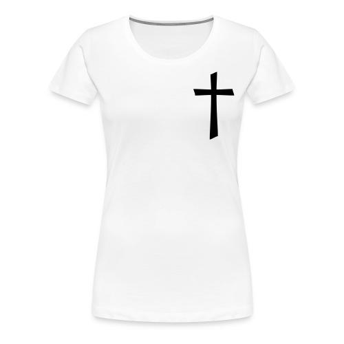 God's Nation Black Cross/White Tee (Women's) - Women's Premium T-Shirt