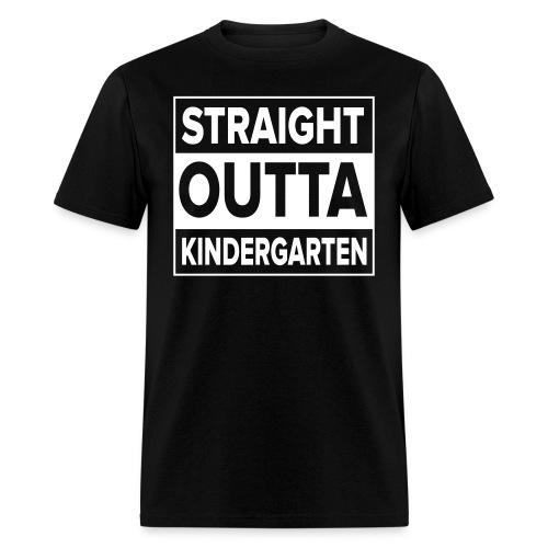 Men's WHITE flat Straight Outta Kinder - Men's T-Shirt