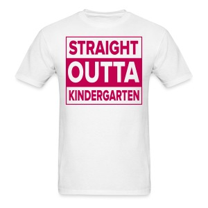 Men's PINK flat Straight Outta Kinder - Men's T-Shirt