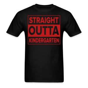 Men's RED GLITTER Straight Outta Kinder - Men's T-Shirt