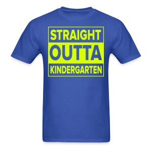 Men's NEON YELLOW flat Straight Outta Kinder - Men's T-Shirt