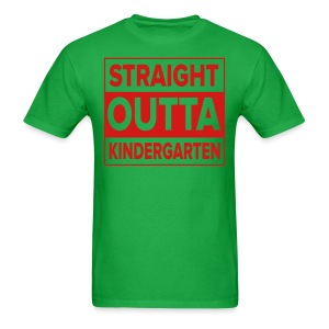 Men's RED  flat Straight Outta Kinder - Men's T-Shirt