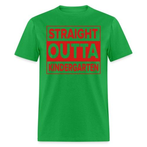 Men's RED  flat Straight Outta Kinder - Men's T-Shirt