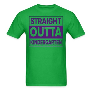 Men's PURPLE  flat Straight Outta Kinder - Men's T-Shirt