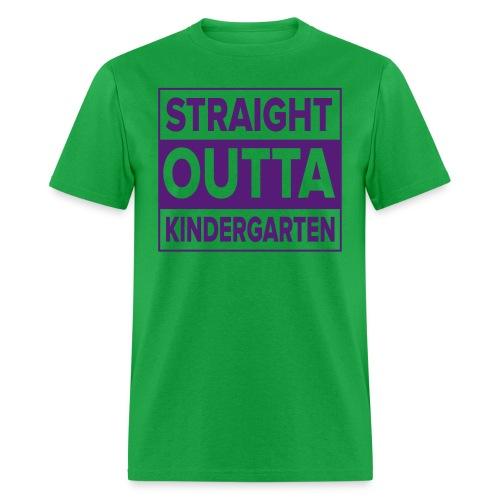 Men's PURPLE  flat Straight Outta Kinder - Men's T-Shirt