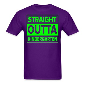 Men's NEON GREEN flat Straight Outta Kinder - Men's T-Shirt