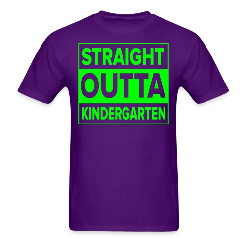 Men's NEON GREEN flat Straight Outta Kinder - Men's T-Shirt