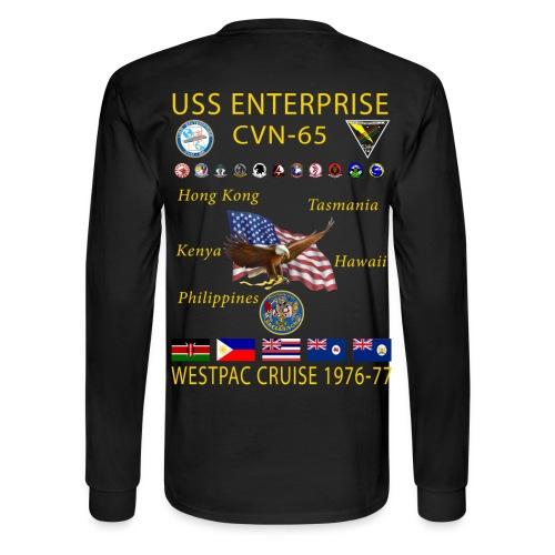 USS ENTERPRISE CVN-65 WESTPAC CRUISE 1976-77 CRUISE SHIRT - LONG SLEEVE - Men's Long Sleeve T-Shirt