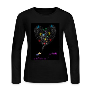 We Don't Fall In Love, We Rise™Rainbow Flag Accent / HeartsN'HandsMirror Signature Hand Drawn by ©Cali Lili™ CaliLiliCiti™ WorkoutStepOutSpeakOut™ PoeTeeZ™BlackBeYouTeeZ™+LGBTeeZ* All Rights Reserved  - Women's Long Sleeve Jersey T-Shirt