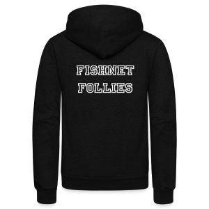 Fishnet Follies Unisex Zip Hoodie - Custom Name - Unisex Fleece Zip Hoodie by American Apparel