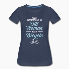 Never Underestimate An Old Woman With A Bicycle Women's T-Shirts