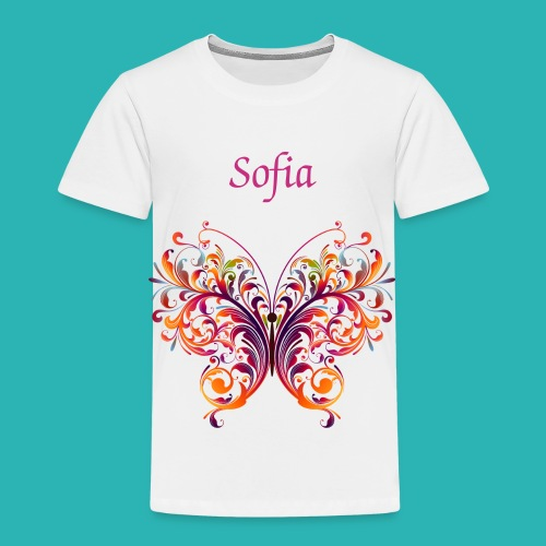 Personalize White Toddler T-Shirt Colorful Butterfly - Toddler Premium T-Shirt