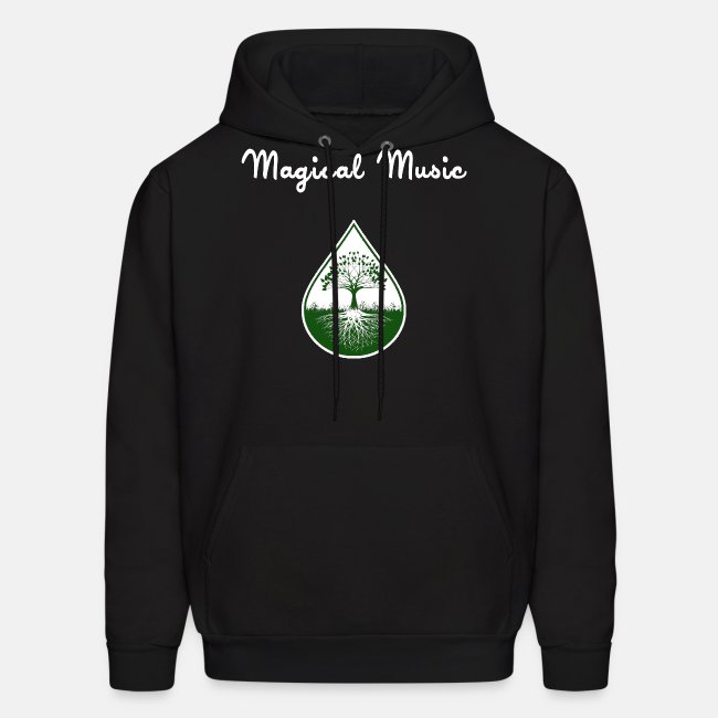 White text and green logo hoodie