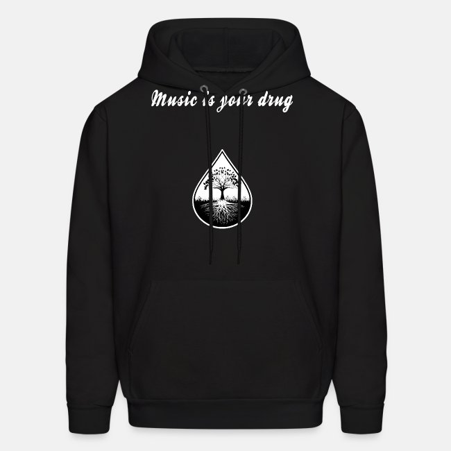 Black and white text and logo hoodie2