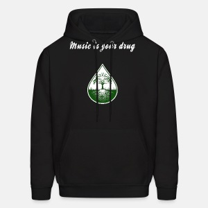 White music is your drug text and green logo hoodie - Men's Hoodie