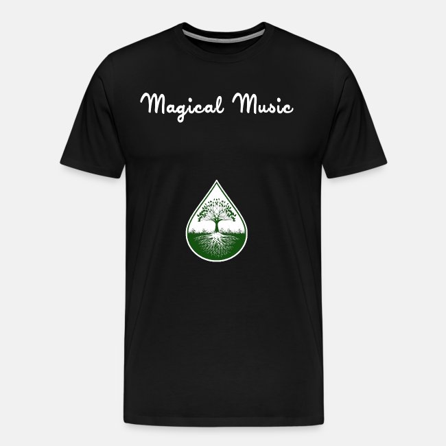 White text and green logo shirt