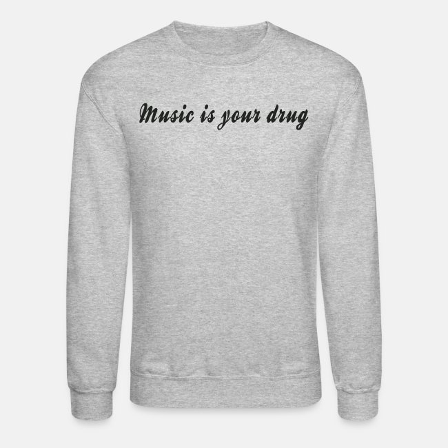 "Black ""music is your drug"" text pullover"