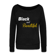 Long Sleeve Shirts ~ Women's Wideneck Sweatshirt ~ Black and Beautiful  Wideneck Slouchy Sweatshirt