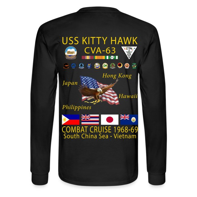USS KITTY HAWK CVA-63 COMBAT CRUISE 1968-69 CRUISE SHIRT - LONG SLEEVE