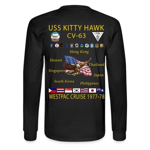 USS KITTY HAWK CV-63 WESTPAC CRUISE 1977-78 CRUISE SHIRT - LONG SLEEVE - Men's Long Sleeve T-Shirt