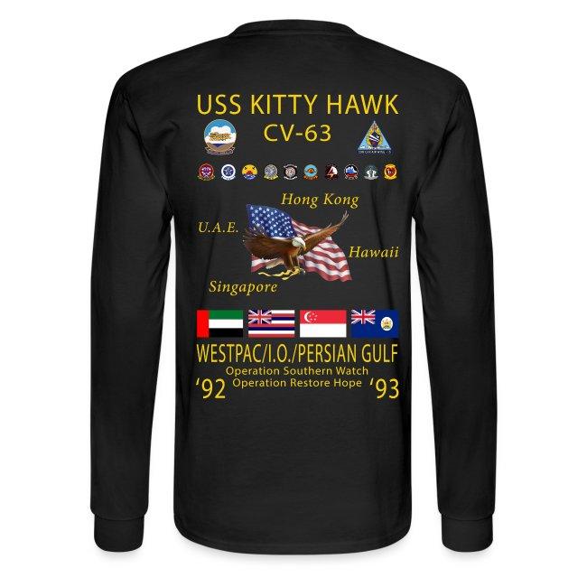 USS KITTY HAWK CV-63 WESTPAC CRUISE 1992-93 CRUISE SHIRT - LONG SLEEVE