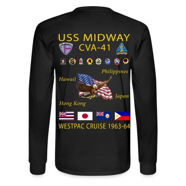 USS MIDWAY CVA-41 1963-64 WESPAC CRUISE SHIRT - LONG SLEEVE