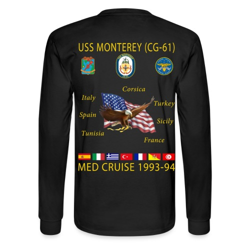 USS MONTEREY 1993-94 CRUISE SHIRT - LONG SLEEVE - Men's Long Sleeve T-Shirt