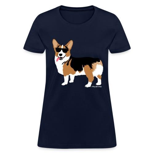 Women's Giant Corgi T-Shirt (no text), Navy - Women's T-Shirt