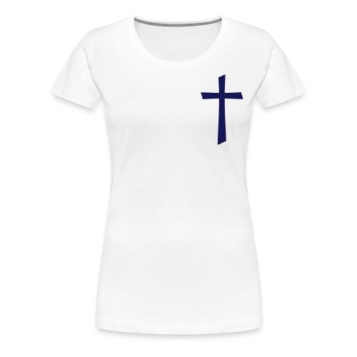 God's Nation Blue Cross/White Tee/Mixed Design (Women's) - Women's Premium T-Shirt