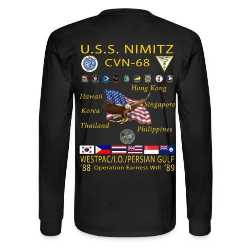 USS NIMITZ CVN-68 WESTPAC/IO/PERSIAN GULF 1988-89 CRUISE SHIRT - LONG SLEEVE - Men's Long Sleeve T-Shirt