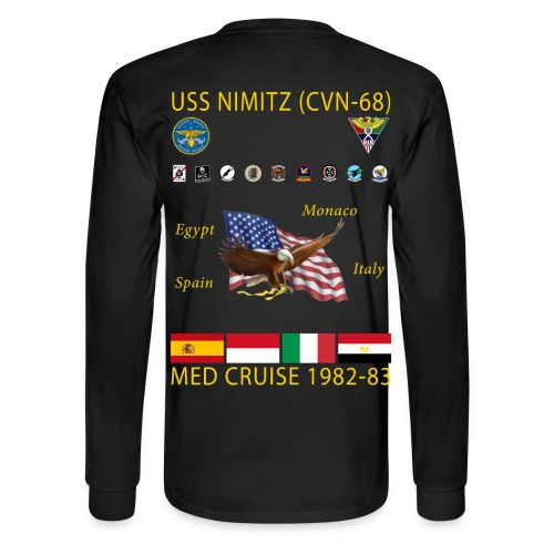 USS NIMITZ CVN-68 MED CRUISE  1982-83 CRUISE SHIRT - LONG SLEEVE - Men's Long Sleeve T-Shirt
