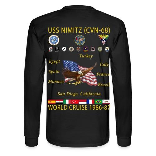 USS NIMITZ CVN-68 WORLD CRUISE 1986-87 CRUISE SHIRT - LONG SLEEVE - Men's Long Sleeve T-Shirt