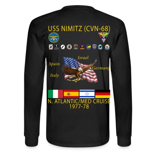 USS NIMITZ CVN-68 MED CRUISE  1977-78 CRUISE SHIRT - LONG SLEEVE - Men's Long Sleeve T-Shirt