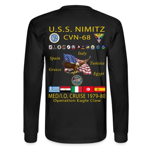 USS NIMITZ CVN-68 MED/IO CRUISE 1979-80 CRUISE SHIRT - LONG SLEEVE - Men's Long Sleeve T-Shirt