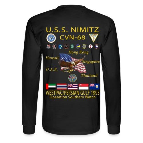 USS NIMITZ CVN-68 WESTPAC/PERSIAN GULF 1993 CRUISE SHIRT - LONG SLEEVE - Men's Long Sleeve T-Shirt