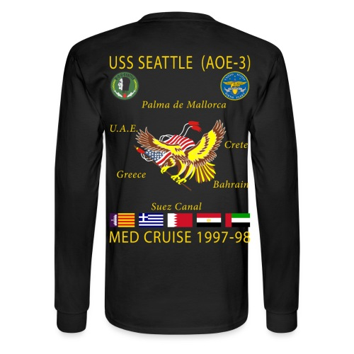 USS SEATTLE 1997-98 CRUISE SHIRT - LONG SLEEVE - Men's Long Sleeve T-Shirt