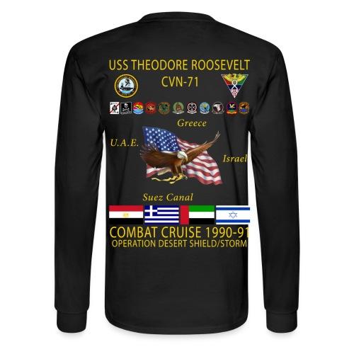 USS THEODORE ROOSEVELT CVN-71 COMBAT CRUISE 1990-91  CRUISE SHIRT - LONG SLEEVE - Men's Long Sleeve T-Shirt