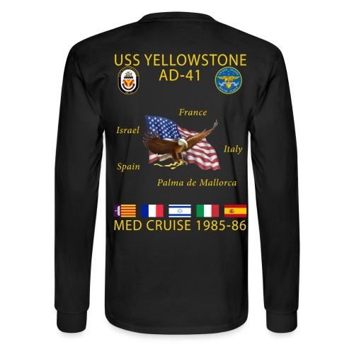 USS YELLOWSTONE 1985-86 MED CRUISE SHIRT - LONG SLEEVE - Men's Long Sleeve T-Shirt