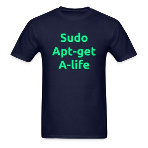 Sudo Apt-get A-life - Linux Geek Joke Shirt - Green on navy - Men - Men's T-Shirt
