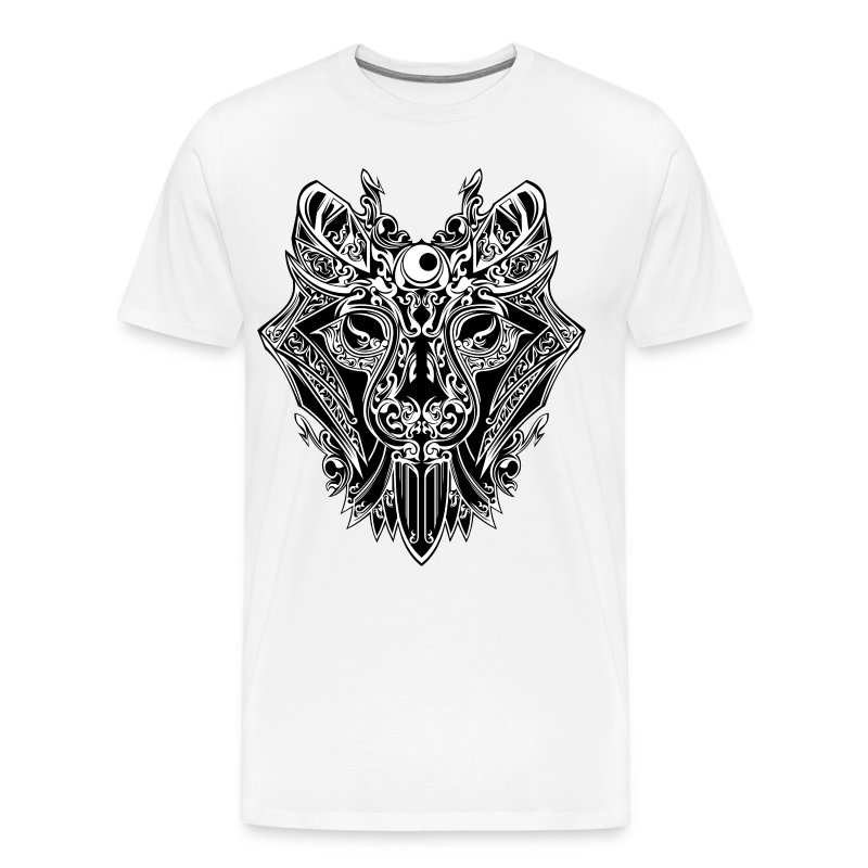 Wolf etnic face mural monochrome t shirt spreadshirt for Murals on the t shirt