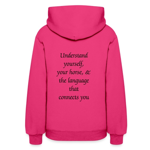 Womens Hoodie with SMALL grey logo on front & slogan on back - Women's Hoodie