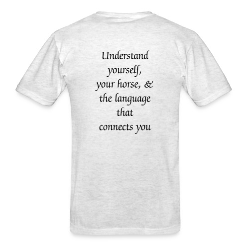 Mens T-Shirt with SMALL grey logo on front & slogan on back - Men's T-Shirt
