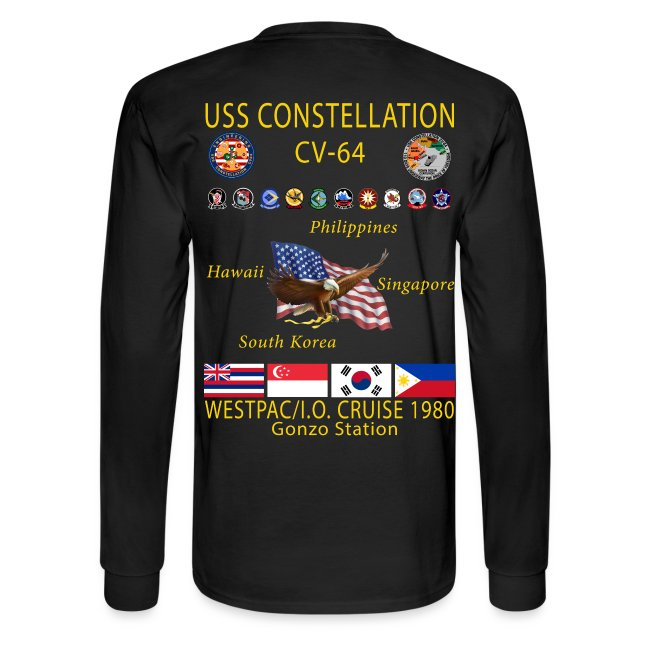 USS CONSTELLATION CV-64 WESTPAC/I.O. CRUISE 1980 CRUISE SHIRT - LONG SLEEVE - GONZO STATION/ENGINEERING GRAPHICS