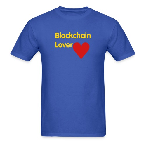 Blockchain Lover - Gold Text - Men's T-Shirt