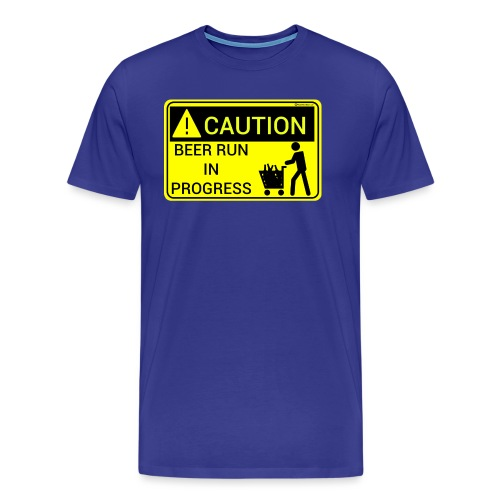 Caution Beer Run In Progress Men's Premium T-Shirt - Men's Premium T-Shirt