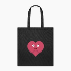 lovely heart with face Bags & backpacks